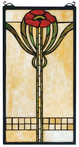 67789 Parker Poppy Stained Glass Window by Meyda Lighting | 11x20 inches