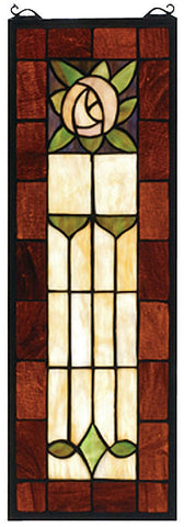 67791 Pasadena Rose Stained Glass Window by Meyda Lighting | 8x24 inches