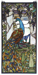 70519 Peacock & Wisteria Stained Glass Window by Meyda Lighting | 15x30""