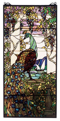 50562 Peacock & Wisteria Stained Glass Window by Meyda Lighting | 19x40""