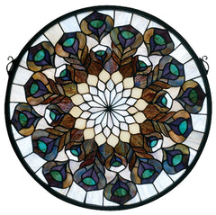 66805 Peacock Feather Stained Glass Window by Meyda Lighting | 17 inches