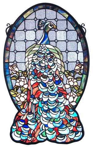 79806 Peacock Profile Stained Glass Window by Meyda Lighting | 12x19 inches