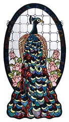 67135 Peacock Profile Stained Glass Window by Meyda Lighting | 20x38 inches