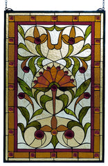 98229 Picadilly Beige Stained Glass Window by Meyda Lighting | 20x30 inches