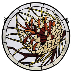 30448 Pinecone Medallion Stained Glass Window by Meyda Lighting | 17 inches