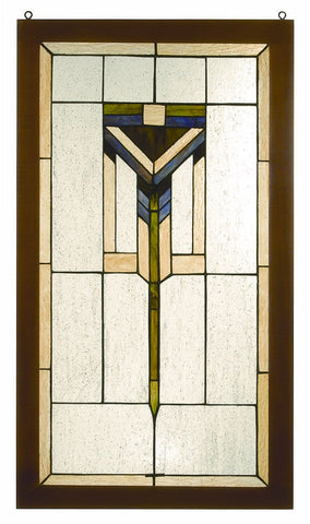 98099 Prairie Stained Glass Window by Meyda Lighting | 17x30 inches