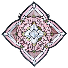 72642 Ring of Roses Stained Glass Window by Meyda Lighting | 20x20 inches