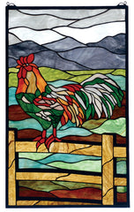 69398 Rooster Stained Glass Window by Meyda Lighting | 19x31 inches