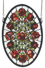 66005 Rose Garden Oval Stained Glass Window by Meyda Lighting | 11x17 inches
