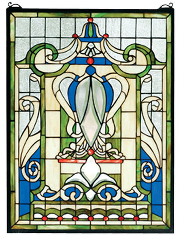 66279 Royal Blue Windsor Stained Glass Window by Meyda Lighting | 18x24""