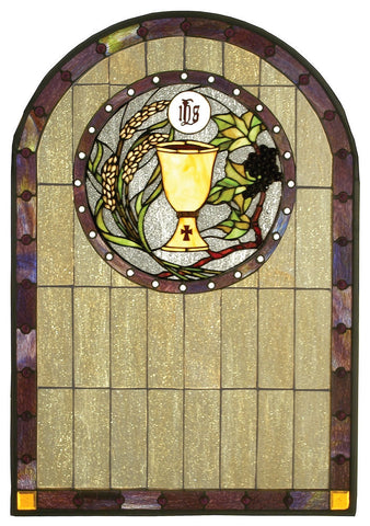 51129 Sacrament Arch Stained Glass Window by Meyda Lighting | 22x32 inches