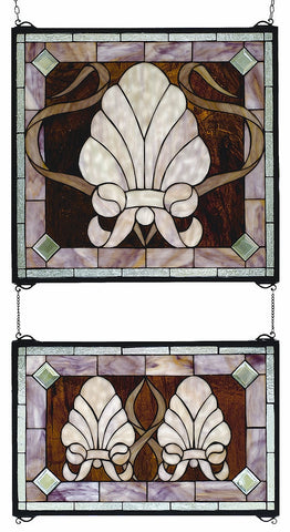 71270 Shell & Ribbon Stained Glass Window by Meyda Lighting | 20x32 inches