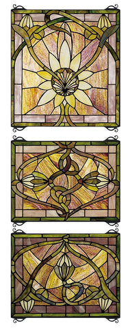 24411 Solstice 3 Panel Stained Glass Window by Meyda Lighting | 14x39 inches