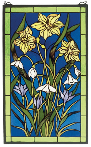 38738 Spring Bouquet Stained Glass Window by Meyda Lighting | 15x25 inches