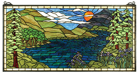 65497 Sunset Meadow Stained Glass Window by Meyda Lighting | 40x20 inches