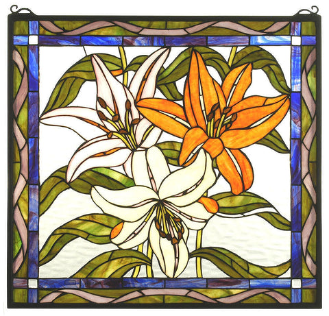 71614 Tiger Lily Stained Glass Window by Meyda Lighting | 24x23 inches