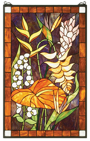 51539 Tropical Floral Stained Glass Window by Meyda Lighting | 20x32 inches