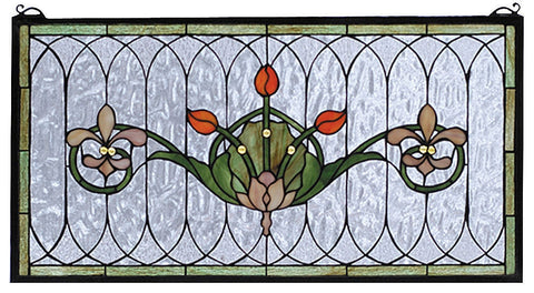 68019 Tulip & Fleurs Stained Glass Window by Meyda Lighting | 26x14 inches