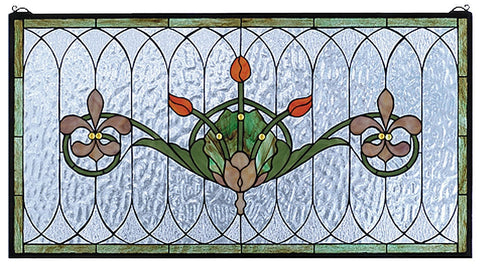 68018 Tulip & Fleurs Stained Glass Window by Meyda Lighting | 36x19 inches