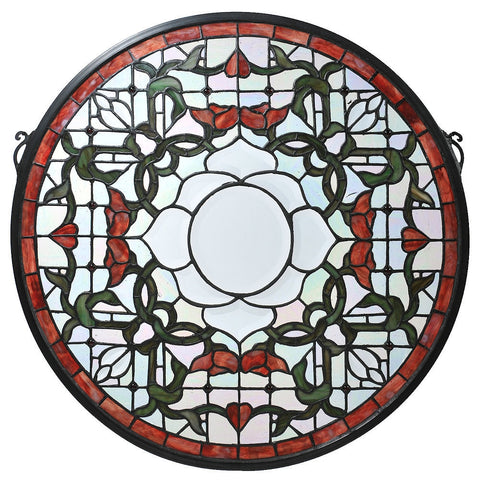 99020 Tulip Beveled Burgundy Stained Glass Window by Meyda Lighting | 20""