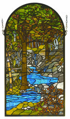 98255 Waterbrooks Arch Stained Glass Window by Meyda Lighting | 16x30 inches