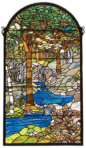 77530 Waterbrooks Arch Stained Glass Window by Meyda Lighting | 22x40 inches