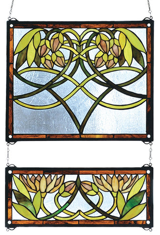 27233 Water Lilies Stained Glass Window by Meyda Lighting | 21x26 inches