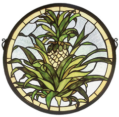 48550 Welcome Pineapple Stained Glass Window by Meyda Lighting | 16 inches