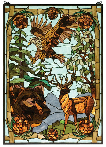 77732 Wilderness Stained Glass Window by Meyda Lighting | 25x35 inches