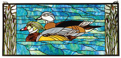 77712 Wood Ducks Stained Glass Window by Meyda Lighting | 35x16 inches