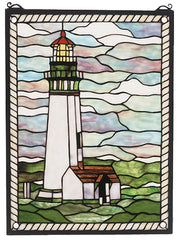 55949 Yaquina Head Lighthouse Stained Glass by Meyda Lighting | 15x20 inches