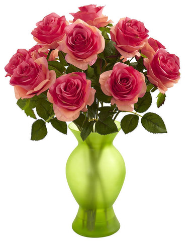 1351-DP Dark Pink Artificial Roses in Sophia Vase in 7 colors by Nearly Natural | 18""