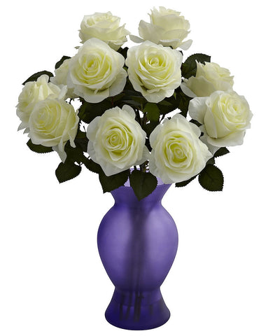 1351-WP White Purple Artificial Roses in Sophia Vase in 7 colors by Nearly Natural | 18""