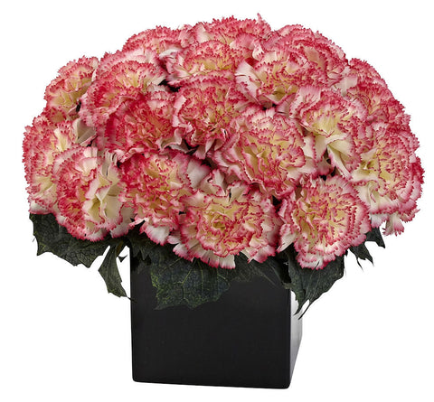 1372-CP Cream Pink Carnation Silk Arrangement w/Planter 10 colors by Nearly Natural | 11""