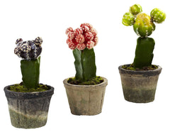 4842-S3 Colorful Cactus Set of 3 Faux Plants by Nearly Natural | 6 to 7 inches
