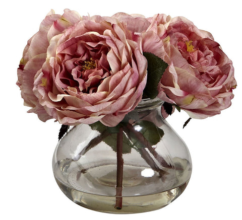 1391-PK Pink Faux Fancy Roses w/Rosie Posie Vase in 4 colors by Nearly Natural | 8""