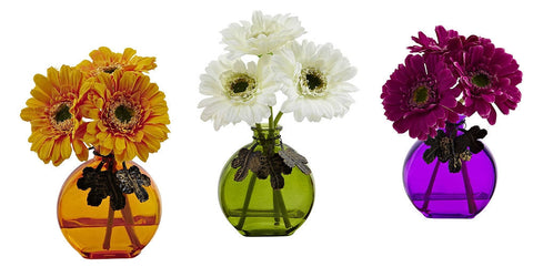4825-S3 Faux Gerber Daisy S/3 Flowers in Colorful Vases by Nearly Natural | 9""