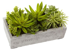 4841 Faux Succulent Garden in Concrete Planter by Nearly Natural | 12.75""