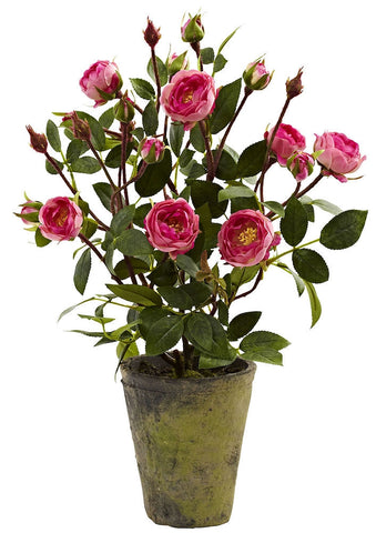 4853 French Rose Garden Silk Flowering Plant by Nearly Natural | 14 inches