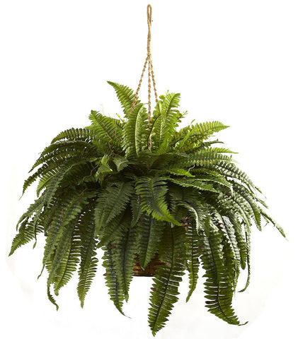 6788 Giant Boston Fern Silk Hanging Plant Basket by Nearly Natural | 36""