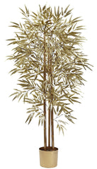 5395 Golden Bamboo Artificial Tree with Planter by Nearly Natural | 5 feet