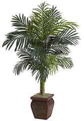 5937 Golden Cane Palm Artificial Tree w/Planter by Nearly Natural | 4.5 ft