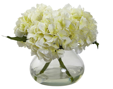 1356-CR Cream Hydrangea Silk Flowers w/Vase in 4 colors by Nearly Natural | 8.5 in