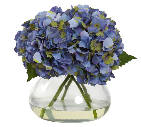 1357-BL Blue Large Silk Hydrangea with Vase in 4 colors by Nearly Natural | 9""