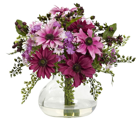 1354-PK Pink Mixed Faux Daisy & Maidenhair in 2 colors by Nearly Natural | 11.5""
