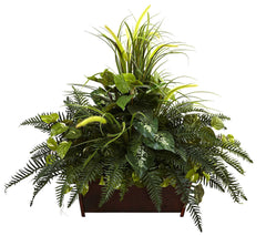 6792 Mixed Faux Grass & River Fern in Wood Planter by Nearly Natural | 3 ft