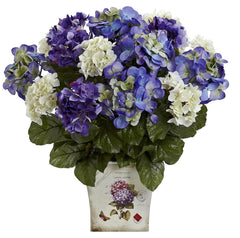 1378-BP Mixed Hydrangea Silk Flowers w/Planter by Nearly Natural | 19 inches