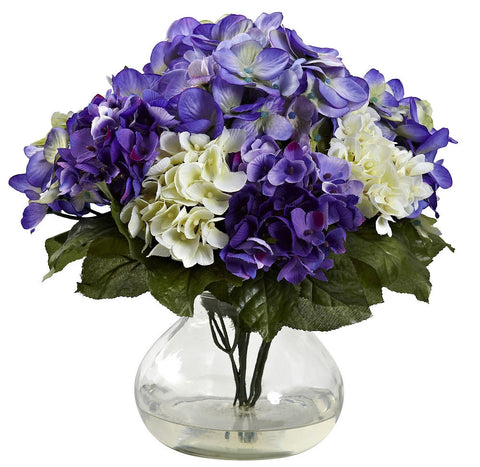 1364-BP Mixed Silk Hydrangea Flowers with Vase by Nearly Natural | 11 inches