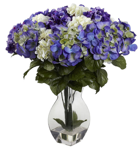 1368-BP Mixed Silk Hydrangea Flowers with Vase by Nearly Natural | 20 inches
