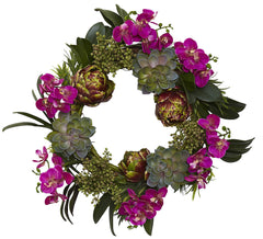 4989 Phalaenopsis Orchid Artichoke Silk Wreath by Nearly Natural | 20""